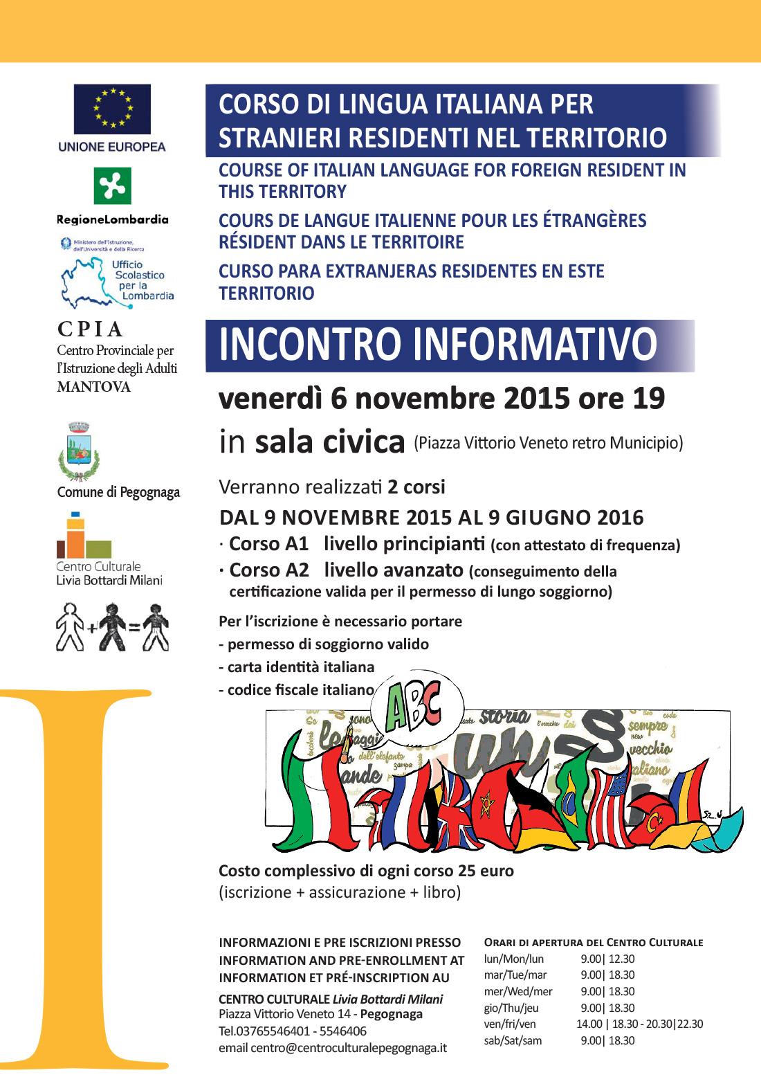 Corsi di lingua italiana pegognaga 2015 centro for Test italiano per carta di soggiorno 2016